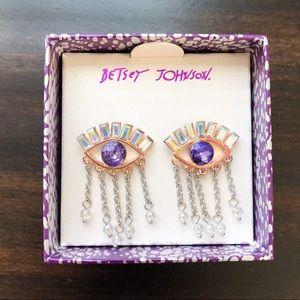 Betsey Johnson Purple Evil Eye Earrings